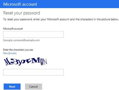 account live com password reset windows 8