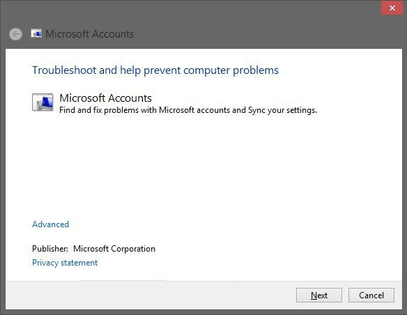 fix microsoft account issues in windows 8