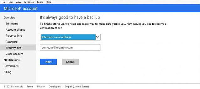 set up two-step verification for your microsoft account