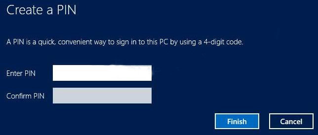 create pin logon in windows 8 on pc