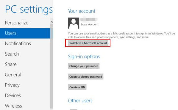 switch to a microsoft account in windows 8