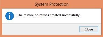 unable to create a system restore point in windows 8