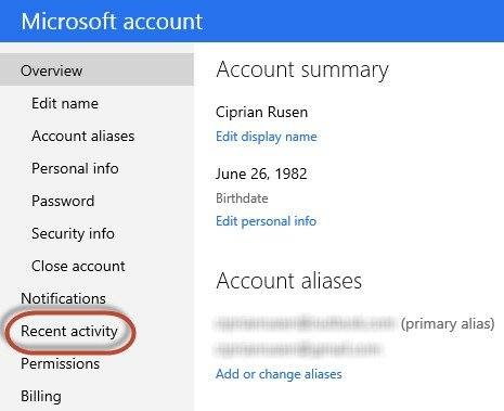microsoft account security recent activity page