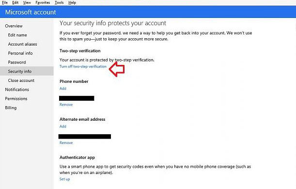 disable two-step verification for your microsoft account