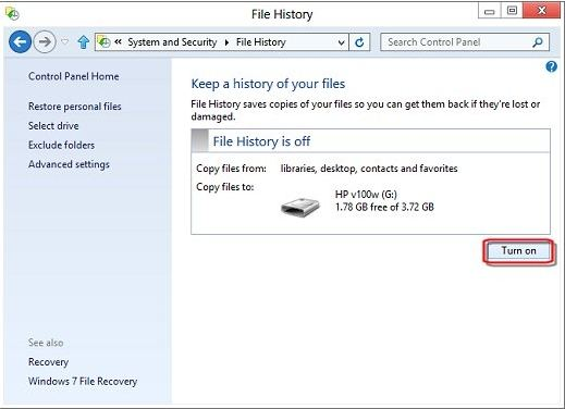 use windows 8 file history to backup files