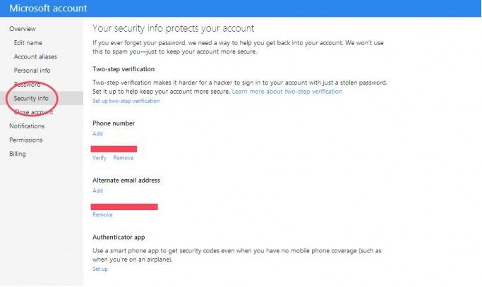 turn off two-step verification for your microsoft account