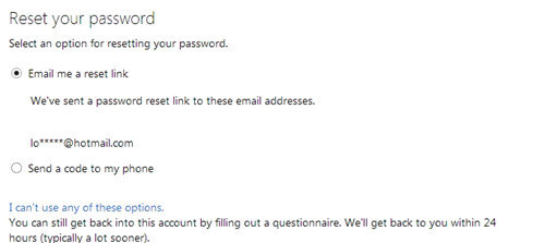 recover password to sign up for xbox live account
