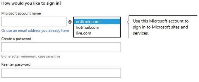 sign up for a microsoft account with gmail