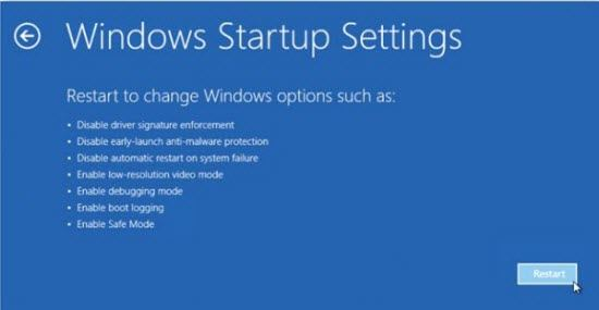 restart windows to enable change windows options