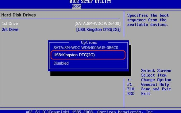 how to set ami bios to boot from usb