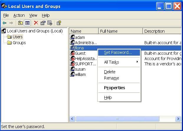 Reset Forgotten Password Windows Xp
