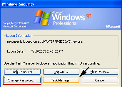 change xp password