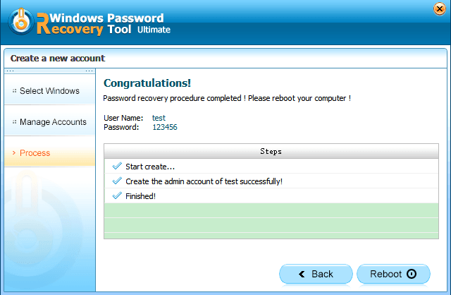 create an account successfully