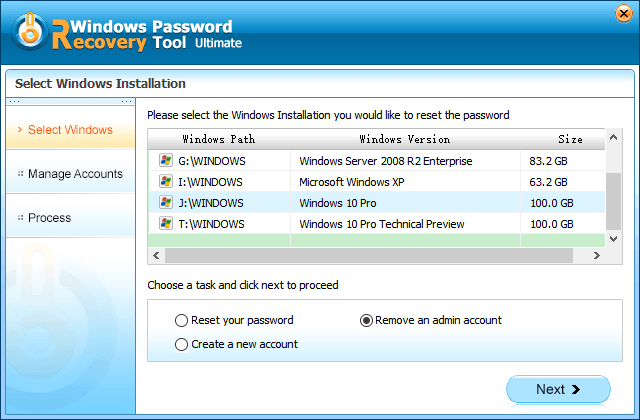 check remove an admin account option