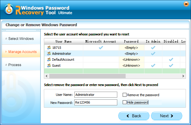 how to change password on lenovo windows 8